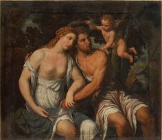 Aphrodite and Adonis, and the god of love, Eros, above them.