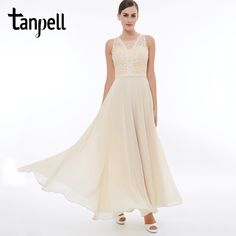 647ee02c105 Tanpell champagne long evening dress cheap lace Ankle-Length sleeveless  O-Neck A-Line dress women wedding formal evening dresses