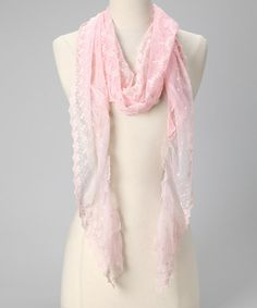 Loving this Tickled Pink Light Pink Lace Scarf on #zulily! #zulilyfinds