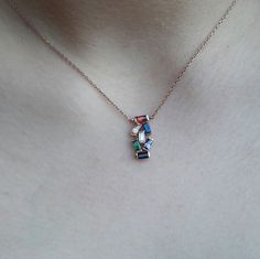 Check out this item in my Etsy shop https://www.etsy.com/listing/268941690/birthstone-necklace-baguette-necklace