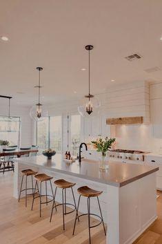 Home Decor Kitchen, Interior Design Kitchen, Home Kitchens, Kitchen Dining, House Kitchen Design, Kitchen Shop, Kitchen Island With Stools, Kitchen With Living Room, Kitchen Cabinets Design