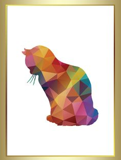 Geometric Cat, Cat Print, Geometric Art, Cute print for all cat lovers! OmbreDesigns