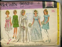 1969 McCall's 9652 Brides' dress and bridesmaids by thevioletpansy, $8.00