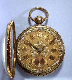 ca.1810 - English 18k gold lever and fusee pocket watch with compensation curb and multicolor gold dial by Robert Roskell.