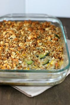 This Zucchini Casserole will change the way you eat vegetables! Creamy and delicious with a crunchy topping for just 128 calories or 3 Weight Watchers points per serving! www.emilybites.com #healthy