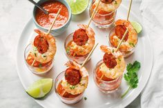 Shrimp and Chorizo Appetizers with Roasted Pepper Soup — These punchy and flavorful skewers are packed with spicy chorizo and shrimp, served with homemade roasted pepper soup shooters. Perfect as a…