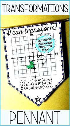 """Students translate, rotate, reflect and dilate geometric figures on the coordinate plane in this collaborative transformations activity that doubles as classroom decor. Once a pennant is complete, it can be hung along a string in your classroom to show the world that, """"Hey, we know how to transform geometric figures!"""" #transformations #geometry #8thgrademath Math 8, Math Teacher, Math Classroom, Classroom Decor, Teacher Resources, Transformations Math, Geometric Transformations, Teaching Geometry, Teaching Math"""