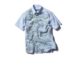 SOPHNET. S/S CAMOUFLAGE OVER PRINT B.D SHIRT