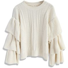 Chicwish Ivory Cable Knit Sweater with Tiered Flare Sleeves (€45) ❤ liked on Polyvore featuring tops, sweaters, jumpers, shirts, white, cable knit sweaters, cable-knit sweater, ivory cable knit sweater, white bell sleeve shirt and bell sleeve sweaters
