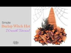 Learn how to turn a wreath easel into a simple burlap witch wreath for your door this Halloween. Burlap Halloween, Halloween Ribbon, Diy Halloween Decorations, Halloween Wreaths, Halloween Hats, Halloween Stuff, Halloween Ideas, Mesh Ribbon Wreaths, Deco Mesh Wreaths