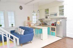 New Kitchen Minimalist Small Apartments Ideas Home Office Design, Interior Design Living Room, House Design, Sofas For Small Spaces, Small Apartments, Living Room Kitchen, Kitchen Decor, Living Rooms, Kitchen Ideas