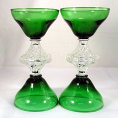Set 4 Vintage Anchor Hocking BERWICK Bubble BOOPIE Burple SHERBET Champagne GLASS Forest Green