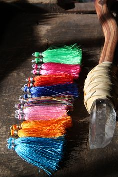 Party Time / Silk Tassels from India / Neon by WomanShopsWorld