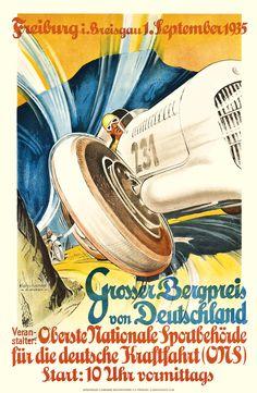 1935 Germany Grosser Bergpreis Racing Poster by Retro Graphics Classic Motors, Classic Cars, Audi, Car Posters, Vintage Race Car, Automotive Art, Courses, Race Cars, Sport Cars