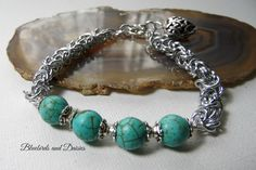 Turquoise Howlite and Chainmaille Bracelet by Bluebirdsanddaisies