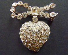 YSL Yves Saint-Laurent heart shaped brooch by VintageParisLuxe