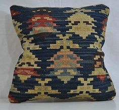 "18"" Wool Kilim Kelim Rug Blue Decorative Throw Pillow Case Cushion Cover 5365"