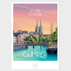 Affiche Quimper La Loutre à 19.90€- Ambiance cadres Quimper Old Commercials, Ville France, Web Project, Travel Posters, Continents, Brittany, Traveling By Yourself, Travel Destinations, Wall Art