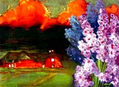 Emil Nolde was one of the first Expressionists , a member of Die Brücke, and is considered to be one of the great watercolor painters of the 20th century. Description from artneedlepoint.com. I searched for this on bing.com/images