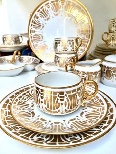 Art Deco Tea Trio Set in Gold and White, Set of Six - Hand painted porcelain teacup, saucer, plate, teacup. Painter Mrs. A. Hymmen.