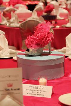 High Heel Centerpiece- Fabulous and Forty signage?