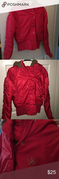 South Pole jacket Candy apple red zip up/button jacket. Matted fur trim on hood. Gold buttons and zipper. South Pole Jackets & Coats Puffers