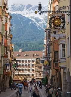 Herzog-Friedrich str.,Innsbruck,Austria. I first traveled to Austria on a high school band trip in 1986. This is on my list of countries added to my Goal List.