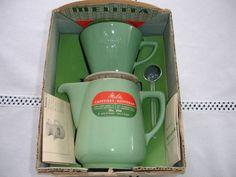 Melitta Minden Kaffee-Filka (Filter und Kanne) 102 altgrün in OVP aus Frankreich