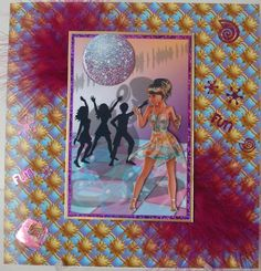 Disco Queen on Craftsuprint designed by Bodil Lundahl - made by chell sharpe - I printed the sheet out onto 220gsm good quality photo paper. I matted the base image onto purple holo card, then onto gold mirror card, added 2 feathers