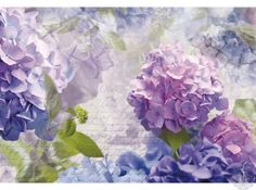 Looking for a flower wall mural to brighten your space? This purple hydrangea flower wall mural, featuring the Otaksa heirloom varietal, is bright and beautiful. See this and other wall murals on Ethan Allen's website or in a Design Center! Mural Floral, Flower Mural, Floral Wall, Floral Motif, Floral Design, Poster Xxl, Hydrangea Varieties, Brewster Wallpaper, Hydrangea Flower