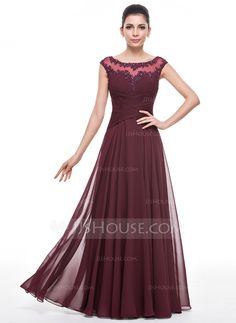 A-Line/Princess Scoop Neck Floor-Length Chiffon Mother of the Bride Dress With Ruffle Beading Appliques Lace Sequins (008058391)