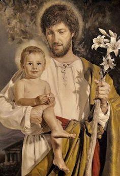 St Joseph Catholic, Catholic Art, Catholic Saints, Religious Art, Baby Jesus Pictures, San Joseph, Christ Is Risen, Christian Pictures, Jesus Painting