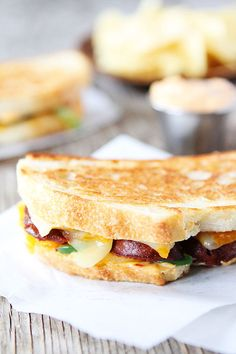 Chorizo Grilled Cheese with Chipotle Mayo Recipe on twopeasandtheirpod.com This sandwich is great for lunch or dinner!