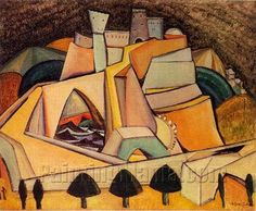 Castle by Amadeo de Souza Cardoso Collages, Cubist Art, Modernisme, Georges Braque, Oil Painting Reproductions, Online Painting, Portraits, Paint Designs, Oil Painting On Canvas