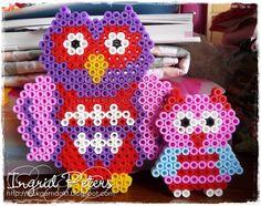 Owls hama perler beads by Leukgemaakt