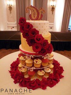 henna design bespoke fresh flowers gold white cupcakes traditional cutting cake contemporary rose petals caketopper