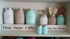 Canisters, 3 quart size utensil holders, and salt and pepper shakers set included Mason Jar Crafts, Mason Jar Diy, Rustic Decor, Farmhouse Decor, Kitchen Sets, Kitchen Decor, Mason Jar Kitchen, Reclaimed Wood Projects, Utensil Holder