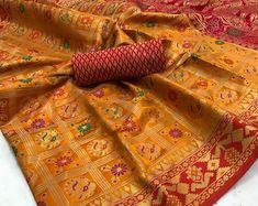 Peach Patola saree jequard saree banarasi saree saree | Etsy Yellow Saree, Banarasi Sarees, Saree Blouse, Indian Jewelry, Happy Shopping, Special Occasion, Peach, Fabric, Etsy
