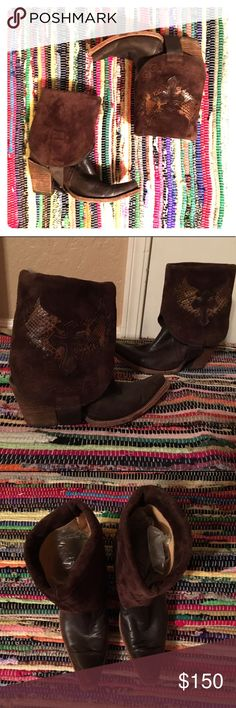 "Corral Chocolate/Musgo Snakeskin/Cross Con Boots Calling All Cool Cowgirls, Bohemians, Biker Babes, Rock Stars!! This Is For You!!  Chocolate/Musgo Snakeskin Wing/Cross 2-n 1 Can Wear 2 Ways!! In The Mood For Tall Boots? You Got It ! In The Mood For A Short Style Bootie? You Got It!! These Boots Have A Fold Down Top Revealing Suede Leather & A Kick Arse Cross With Snake Skin Wings. Height: 14"" Heel Height: 3""Width Shaft 15"" Leather Sole. Corral Boots Shoes Ankle Boots & Booties"
