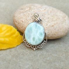 Natural Larimar Pendant Oval Shape sky blue by FineSilverStudio