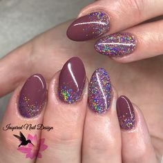 CND Shellac Married to Mauve with Lecenté Fantasy Super Holographic glitter