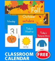 Free printable classroom calendar & other labels.