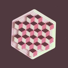 Pink/Brown/White Geometric design hama beads by demoisellecreatiff