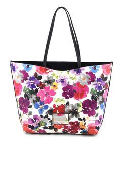 2b8aef1a54 Shopping Bag floreale Doubleface CafèNoir - Shoes, Bags and Accessories