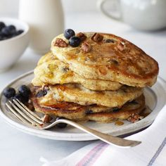 Blueberry Cornmeal Pancakes Recipe - Food and Recipes - Mother Earth Living