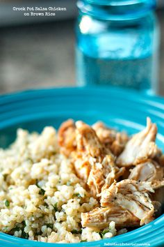 Crock Pot Salsa Chicken on Brown Rice | ReluctantEntertainer.com