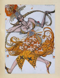 1910: Costume design by the Russian painter Léon Bakst for the Ballets Russes production of The Firebird