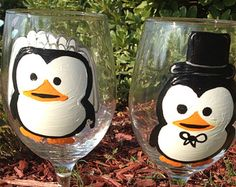 Penguin Bride and Groom Wedding  Wine Glass