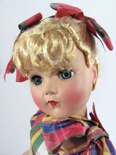 """Nancy Lee 18"""" Doll in Plaid Gown Arranbee Circa 1950s"""