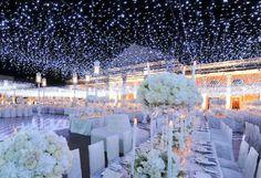 Outdoor night wedding. Love the light ceiling!